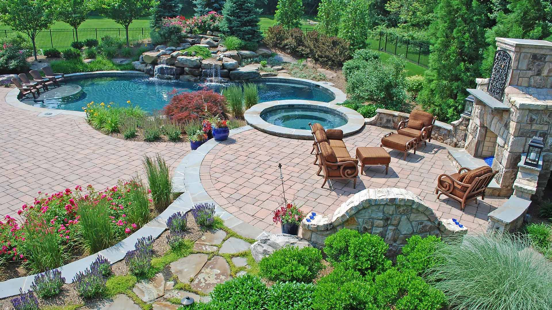 Poolside outdoor living area designed for a Chester Springs, Pennsylvania home.