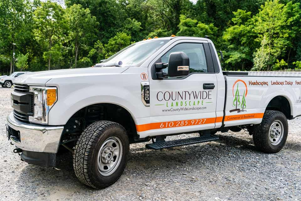 Countywide Landscape work truck in West Chester, Pennsylvania